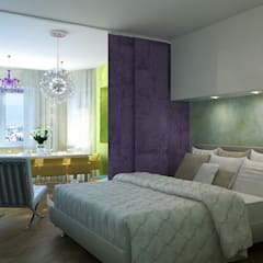 The project is a one-room apartment.: Спальни в . Автор – Design studio of Stanislav Orekhov. ARCHITECTURE / INTERIOR DESIGN / VISUALIZATION.