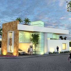 Fachada nocturna sin balcón: Casas de estilo  por Milla Arquitectos S.A. de C.V., Minimalista