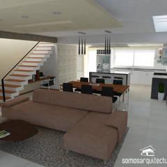 Diseño interior sobre área pública de vivienda: Comedores de estilo  por Somos Arquitectura