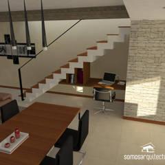 Diseño interior sobre área pública de vivienda: Pasillos y recibidores de estilo  por Somos Arquitectura