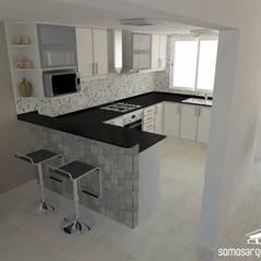 Diseño interior sobre área pública de vivienda: Cocinas de estilo  por Somos Arquitectura