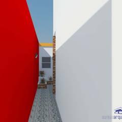 Diseño de jardín de invierno con parrilla y patio exterior: Pasillos y recibidores de estilo  por Somos Arquitectura