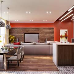 Столовая-Кухня: Столовые комнаты в . Автор – ARCHWOOD, дизайн-бюро