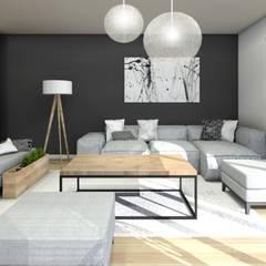 Cegła,drewno,biel,czerń...: styl , w kategorii Salon zaprojektowany przez Architekt wnętrz Klaudia Pniak
