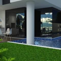 Residência Aventador: Piscinas  por ANNA MAYA & ANDERSON SCHUSSLER