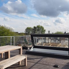 Elektrisch dakluik Amsterdams loft:  Terras door Glazing Vision