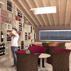 La parete espositiva per vini - The winery wall: Cantina in stile  di Planet G