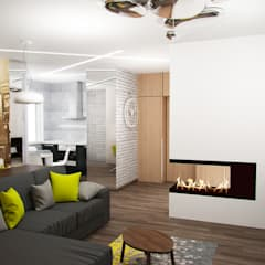 Гостиная-студия: Гостиная в . Автор – interier18.ru, Лофт