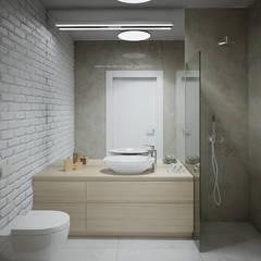 PROJEKT WNĘTZR DOMU JEDNORODZINNEGO: styl , w kategorii Łazienka zaprojektowany przez Kunkiewicz Architekci