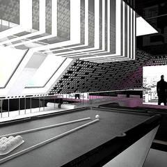 Strefa rekreacji: bilard, kino domowe : styl , w kategorii Pokój multimedialny zaprojektowany przez ARTDESIGN architektura wnętrz