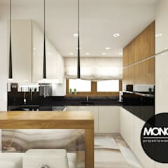 Nowoczesna otwarta na salon kuchnia w minimalistycznym charakterze: styl , w kategorii Kuchnia zaprojektowany przez MONOstudio