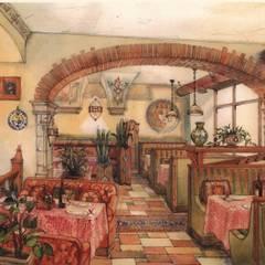 """Эскиз  -  торговый зал ресторана """"МАМА РОМА"""".: Ресторации в . Автор –  Виктория Капитонова"""