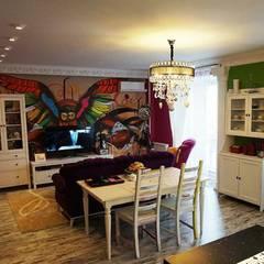 Дизайн интерьера кухни-гостиной на Кавалерийской: Гостиная в . Автор – MARIA MELNICOVA студия SIERRA,