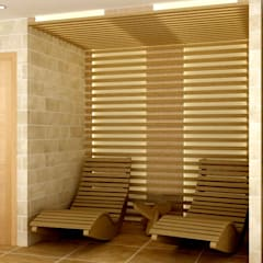 Interior Design for a client's house, sauna extension and patio. Peterborough, UK:  Spa by Lena Lobiv Interior Design