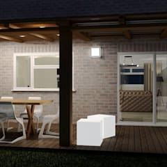 Interior Design for a client's house, sauna extension and patio. Peterborough, UK:  Terrace by Lena Lobiv Interior Design