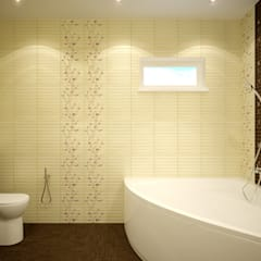 """Дизайн санузла 1 этажа в коттеджном поселке """"Бавария"""": Ванные комнаты в . Автор – Студия интерьерного дизайна happy.design,"""