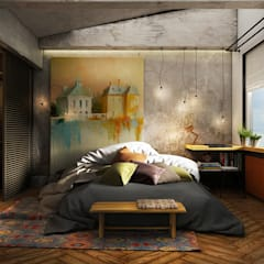 Bedroom by he.d group, Industrial Wood Wood effect