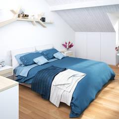 Ristrutturazione di un vecchio mulino a Jussy - camera da letto matrimoniale: Camera da letto in stile  di Jonathan Sabbadini