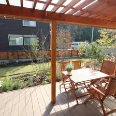 庭を楽しむ家: 大出設計工房 OHDE ARCHITECT STUDIOが手掛けたテラス・ベランダです。,ラスティック