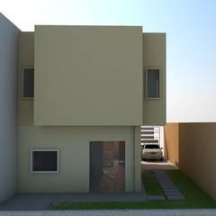 fachada posterior de vivienda unifamiliar FAMILIA SANABRIA: Casas de estilo  por 3R. ARQUITECTURA