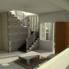 escalera de vivienda unifamiliar FAMILIA SANABRIA (Planta alta): Paredes de estilo  por 3R. ARQUITECTURA