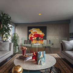 DEPARTAMENTO EN LA CONDESA II: Salas multimedia de estilo ecléctico por MAAD arquitectura y diseño
