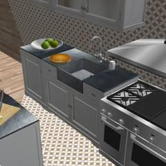 Villa 130mq stile Industrial - Shabby: Cucina attrezzata in stile  di T_C_Interior_Design___