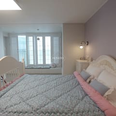 프로방스 느낌의 화이트톤 33평 인테리어: 홍예디자인의  침실,컨트리