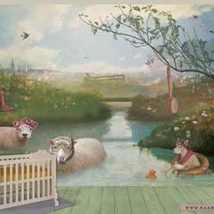 Kaartje of Kip FOTOBEHANG: Schapen:  Kinderkamer door Kaartje of Kip