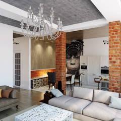 Тот самый LOFT house : Гостиная в . Автор – Дизайн Мира, Лофт Кирпичи