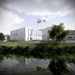 PRZYCHODNIA Z LĄDOWISKIEM: styl , w kategorii Szpitale zaprojektowany przez PL+sp. z o.o.,
