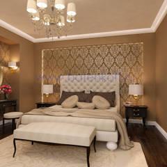Дизайн проект спальни в классическом стиле с мебелью артдеко в Сысерть.: Спальни в . Автор – Дизайн студия 'Дизайнер интерьера № 1',