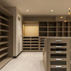 DEPARTAMENTO EN LOMAS: Vestidores y closets de estilo  por HO arquitectura de interiores