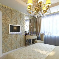 Дизайн проект спальни для девушки: Спальни в . Автор – Дизайн студия 'Дизайнер интерьера № 1', Классический Серебро / Золото