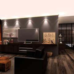 Departamento BM: Salas de estilo  por Taller 03, Escandinavo Madera Acabado en madera