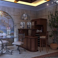 Colonial style media rooms by Architoria 3D Colonial Limestone