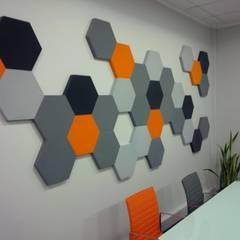 Panele Hexa w biurze: styl , w kategorii Biurowce zaprojektowany przez FLUFFO fabryka miękkich ścian
