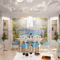 Дизайн проект гостиной в средиземноморском стиле с элементами ардеко в таунхаусе города Екатеринбурга: Столовые комнаты в . Автор – Дизайн студия 'Дизайнер интерьера № 1',