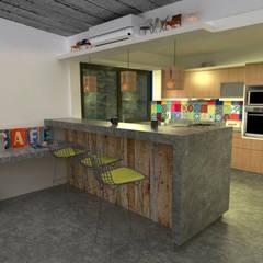 Diseño de cocina y estar para proyecto Casa Primma : Cocinas de estilo ecléctico por Estudio 17.30