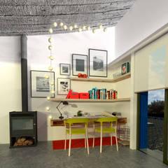 Diseño de cocina y estar para proyecto Casa Primma : Estudios y oficinas de estilo  por Estudio 17.30