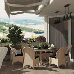 Терраса на крыше дома г. Сочи Студия дизайна Дарьи Одарюк Балконы и веранды в эклектичном стиле Многоцветный