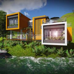 A orilla del Lago: Casas de estilo minimalista por John J. Rivera Arquitecto