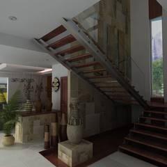 ESCALERAS PRINCIPALES : Pasillos y recibidores de estilo  por OLLIN ARQUITECTURA