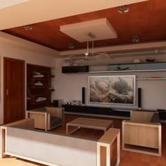 RESIDENCIA SINALOA: Salas multimedia de estilo  por OLLIN ARQUITECTURA ,