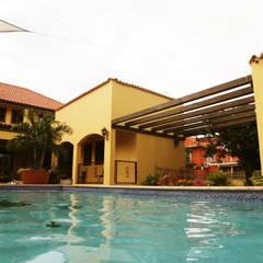pool: tropisch Zwembad door architectenbureau Aerlant Cloin BNA