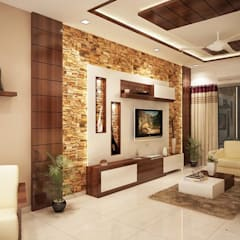 4 bedroom apartment at SJR Watermark:  Living room by ACE INTERIORS