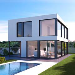 Exterior de vivienda modular Casas modernas de NUÑO ARQUITECTURA Moderno Aglomerado