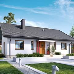 PROJEKT DOMU KORNEL VI (z wiatą) ENERGO : styl , w kategorii Domy zaprojektowany przez Pracownia Projektowa ARCHIPELAG,