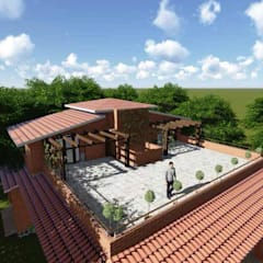 eco-friendly bunglow by Ar.Ankit Kankariya:  Terrace by Kankariya Developers