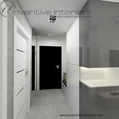 Beton w biało szarym przedpokoju: styl , w kategorii Korytarz, przedpokój zaprojektowany przez Inventive Interiors